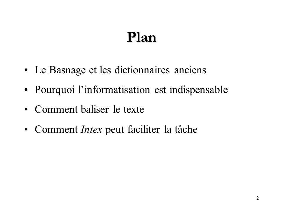 Plan Le Basnage et les dictionnaires anciens
