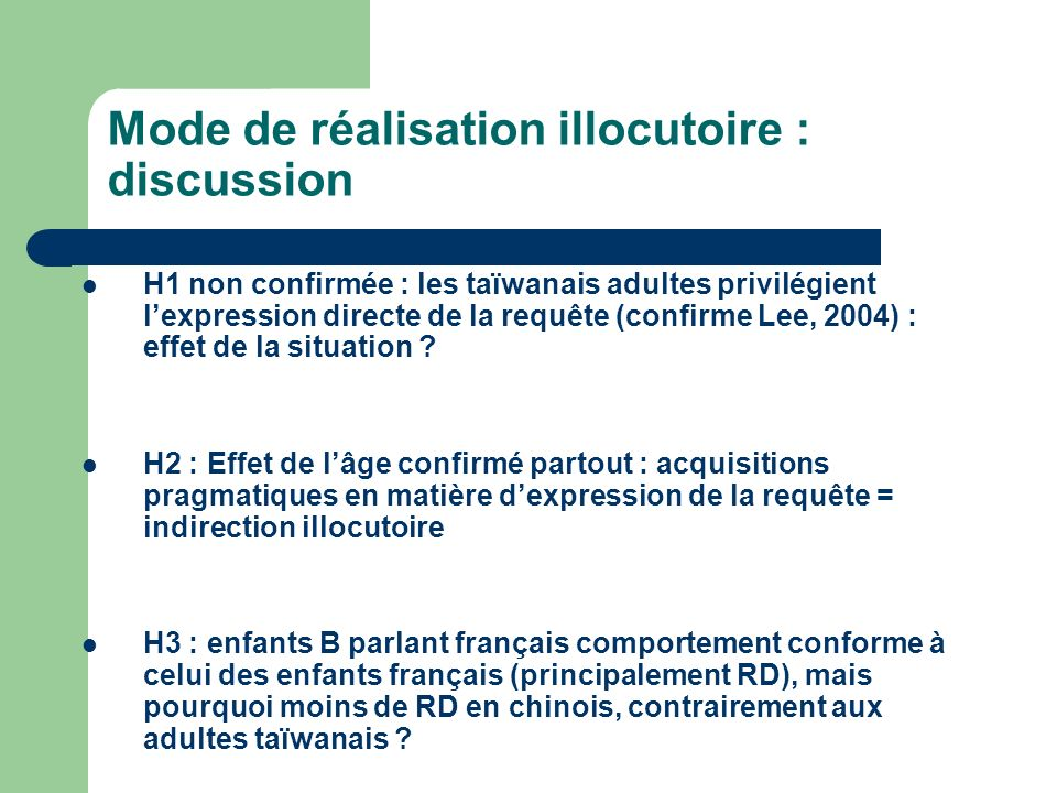 Mode de réalisation illocutoire : discussion