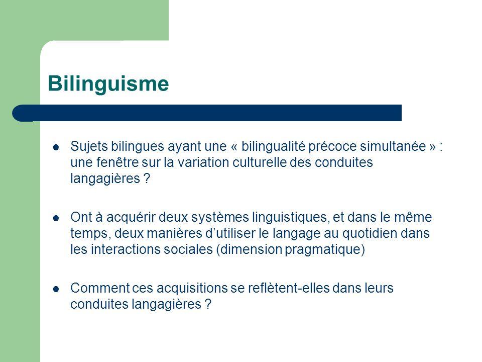 Bilinguisme Sujets bilingues ayant une « bilingualité précoce simultanée » : une fenêtre sur la variation culturelle des conduites langagières