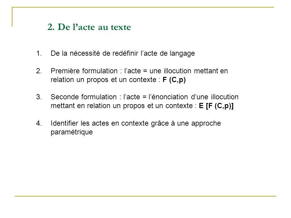 2. De l'acte au texte De la nécessité de redéfinir l'acte de langage