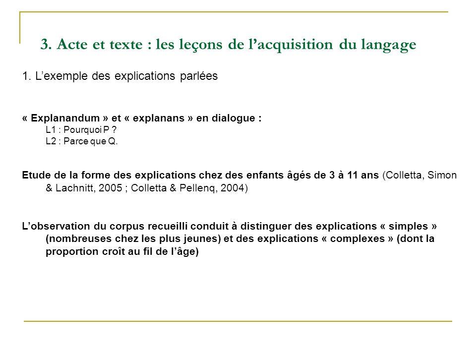 3. Acte et texte : les leçons de l'acquisition du langage