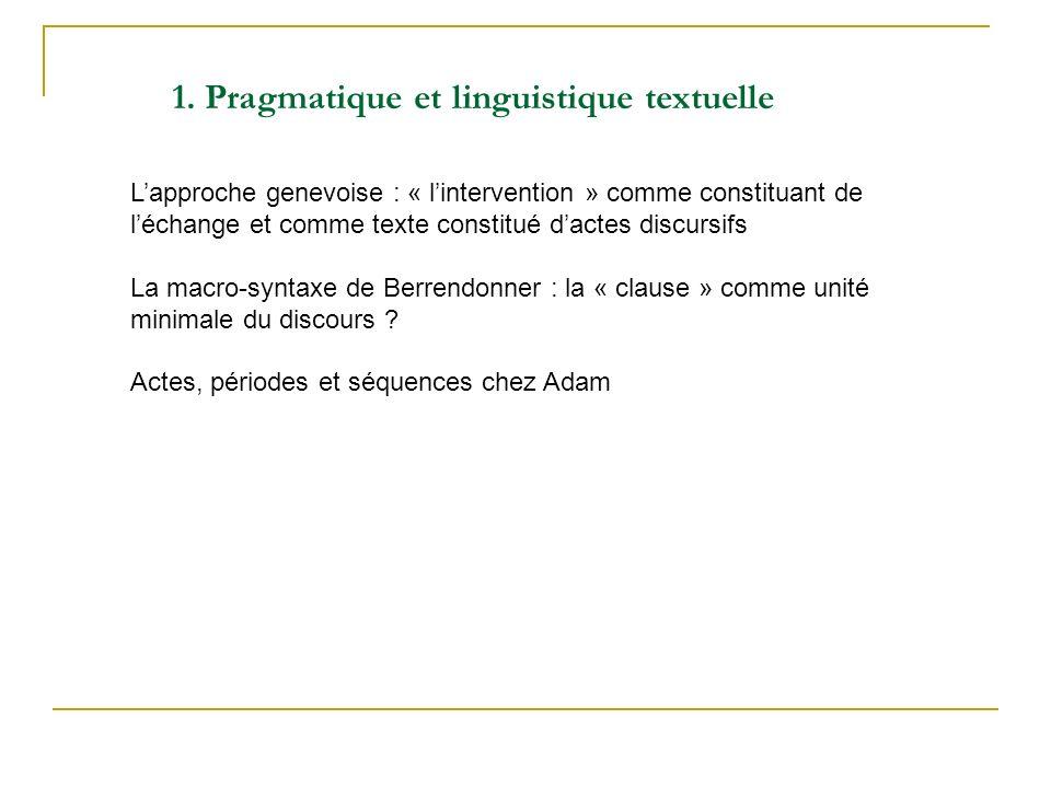 1. Pragmatique et linguistique textuelle