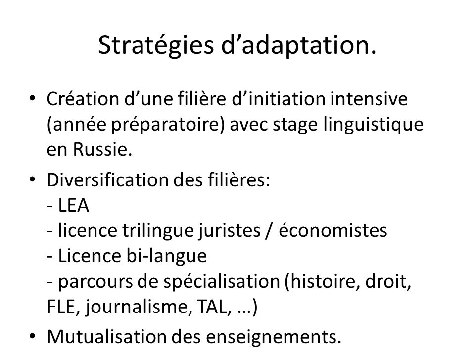 Stratégies d'adaptation.