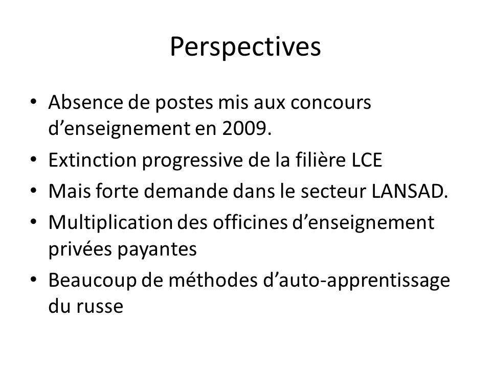 Perspectives Absence de postes mis aux concours d'enseignement en 2009. Extinction progressive de la filière LCE.