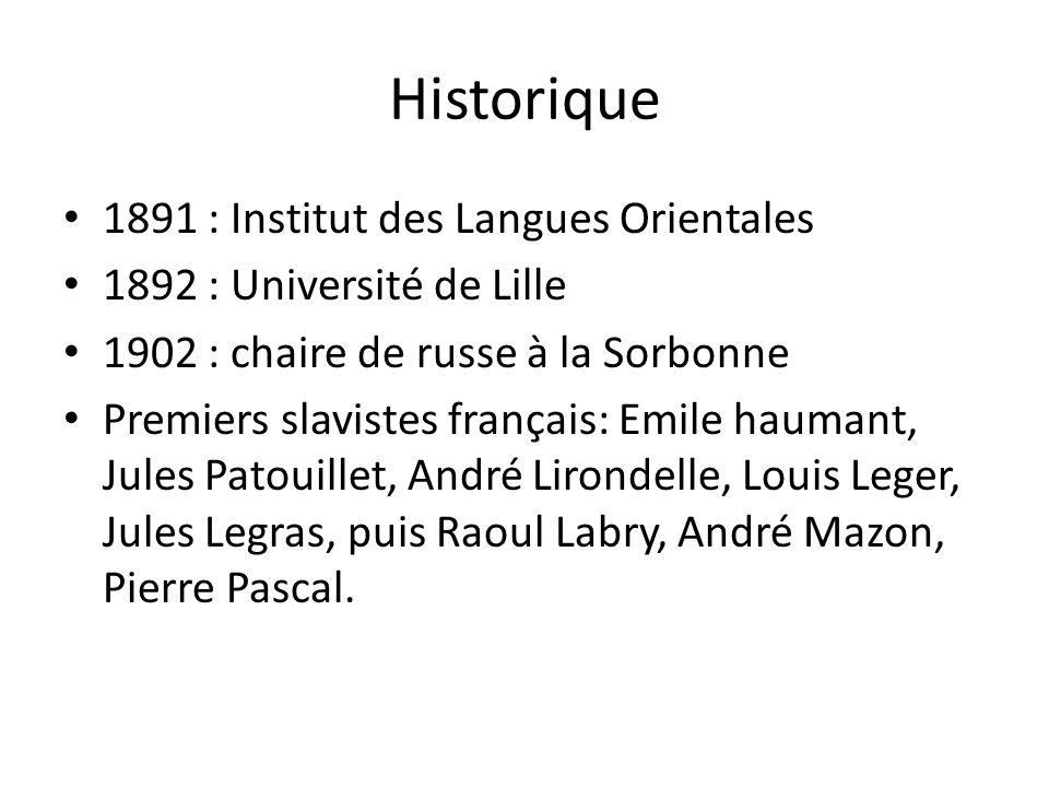 Historique 1891 : Institut des Langues Orientales