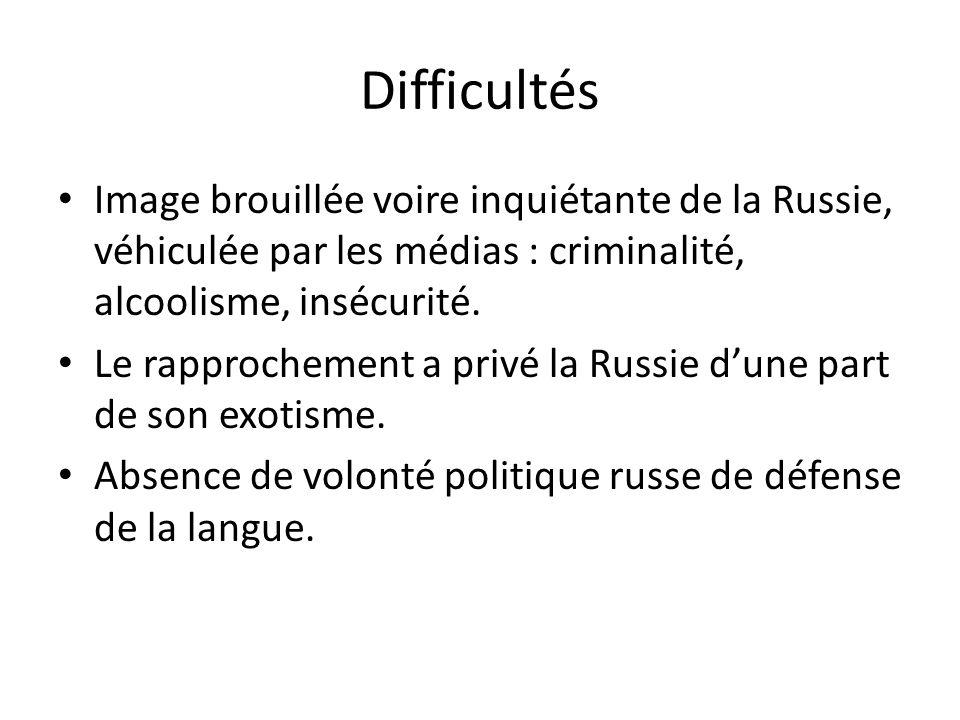 Difficultés Image brouillée voire inquiétante de la Russie, véhiculée par les médias : criminalité, alcoolisme, insécurité.
