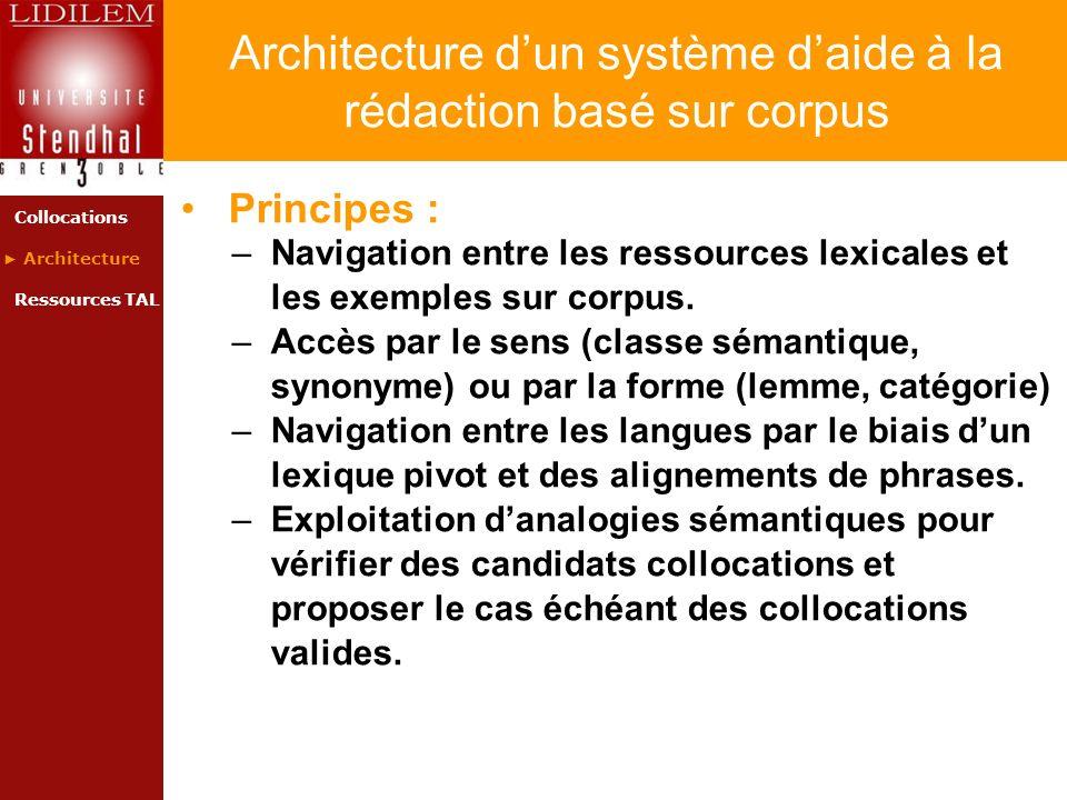 Architecture d'un système d'aide à la rédaction basé sur corpus