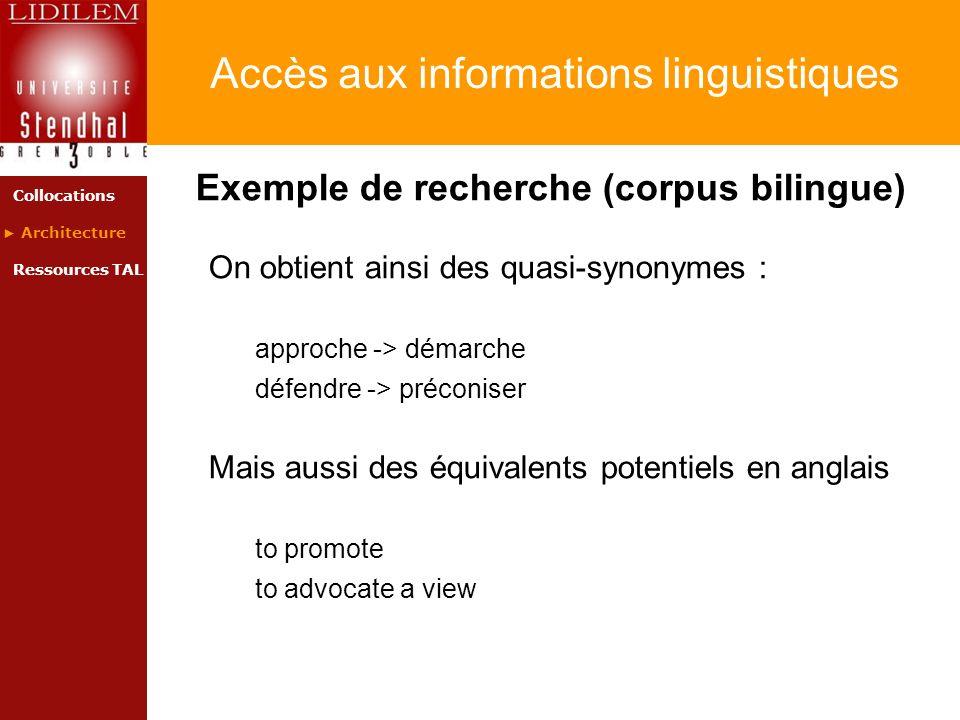 Accès aux informations linguistiques