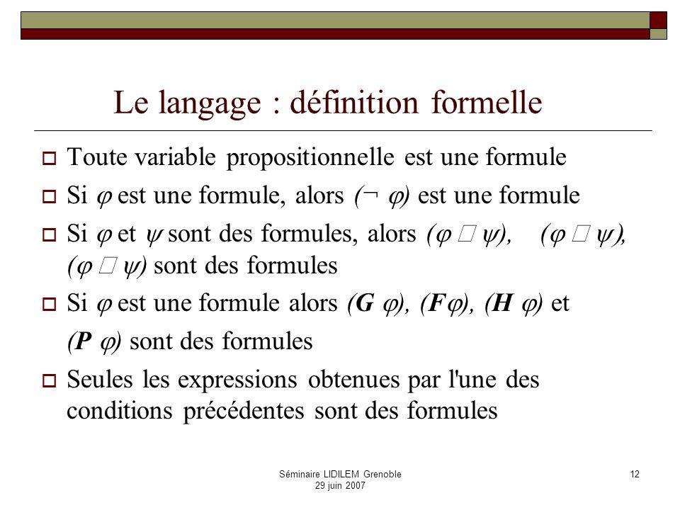 Le langage : définition formelle
