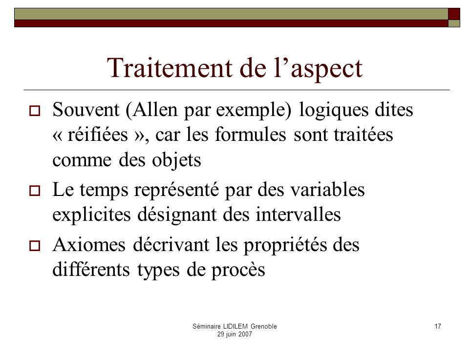 Traitement de l'aspect