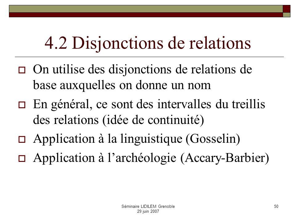 4.2 Disjonctions de relations
