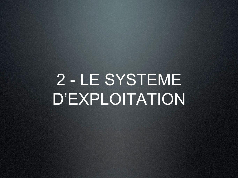 2 - LE SYSTEME D'EXPLOITATION