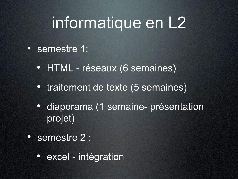 informatique en L2 semestre 1: HTML - réseaux (6 semaines)