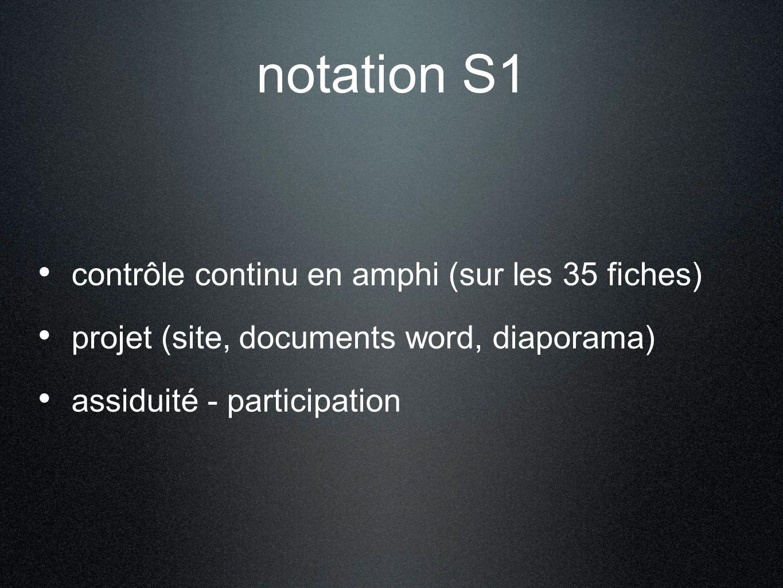 notation S1 contrôle continu en amphi (sur les 35 fiches)