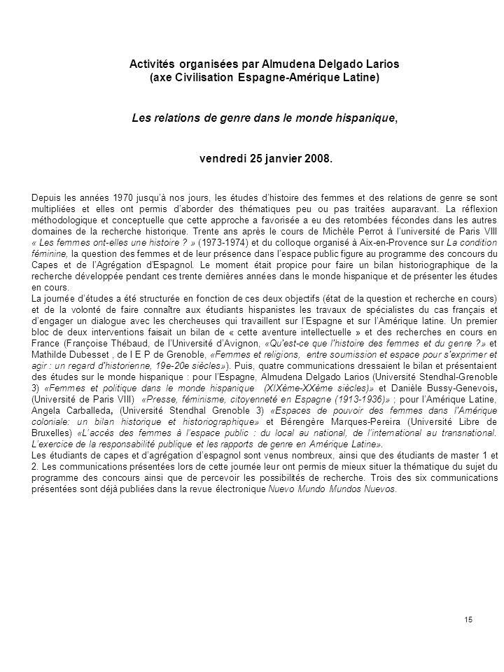 Activités organisées par Almudena Delgado Larios