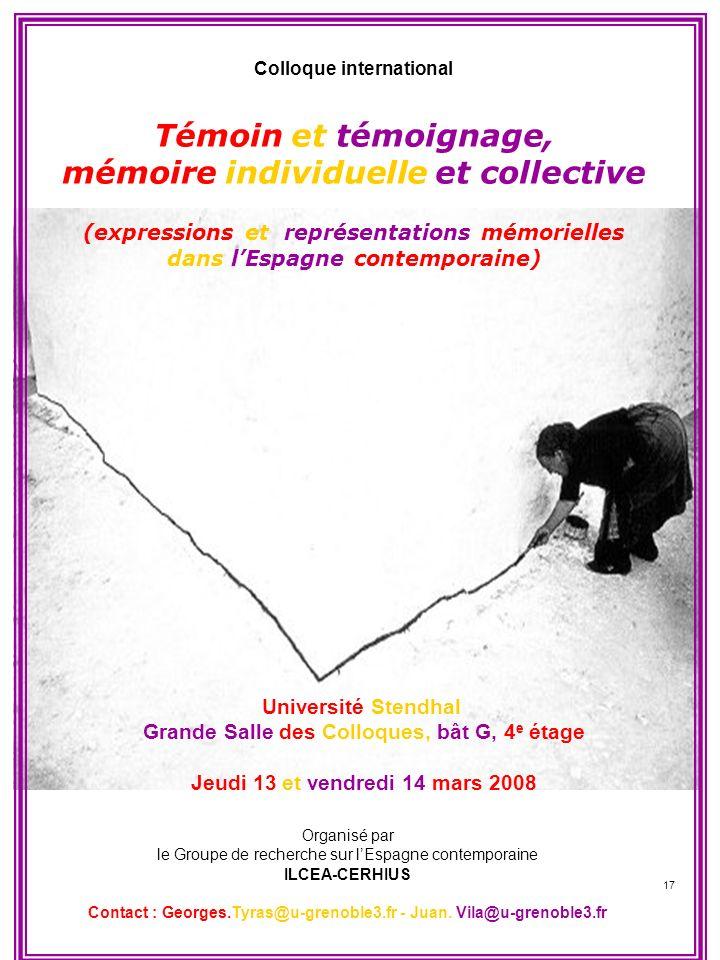 Témoin et témoignage, mémoire individuelle et collective