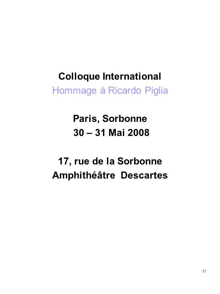 Colloque International Amphithéâtre Descartes