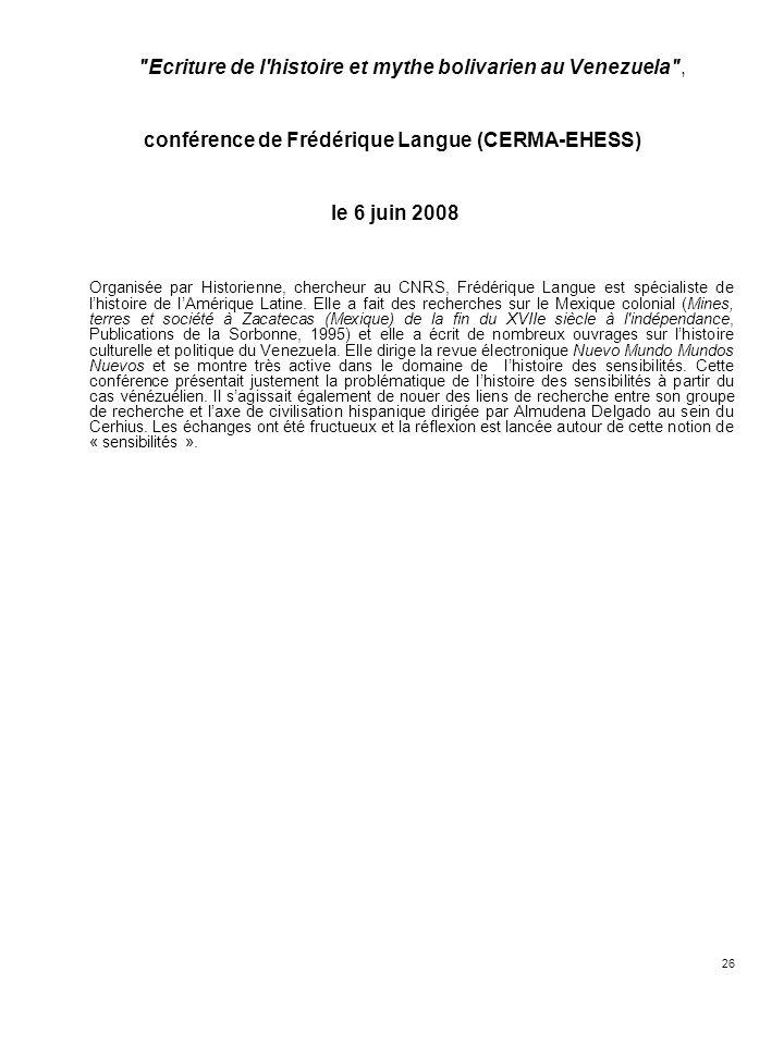conférence de Frédérique Langue (CERMA-EHESS)