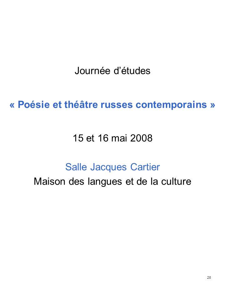 « Poésie et théâtre russes contemporains »