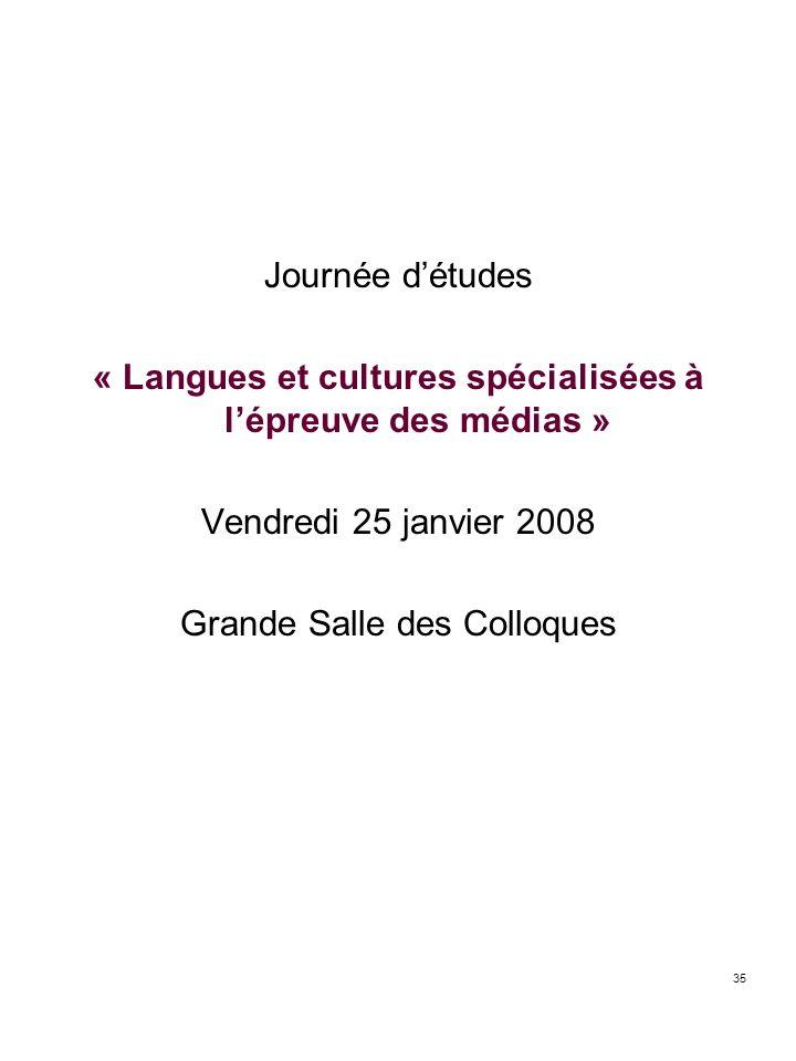 « Langues et cultures spécialisées à l'épreuve des médias »