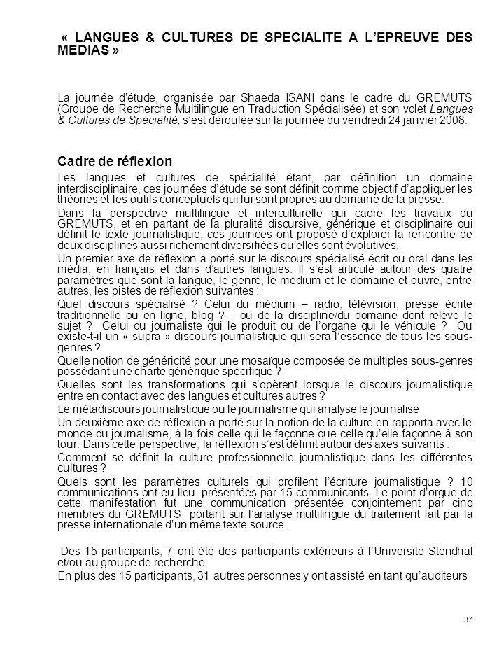 « LANGUES & CULTURES DE SPECIALITE A L'EPREUVE DES MEDIAS »