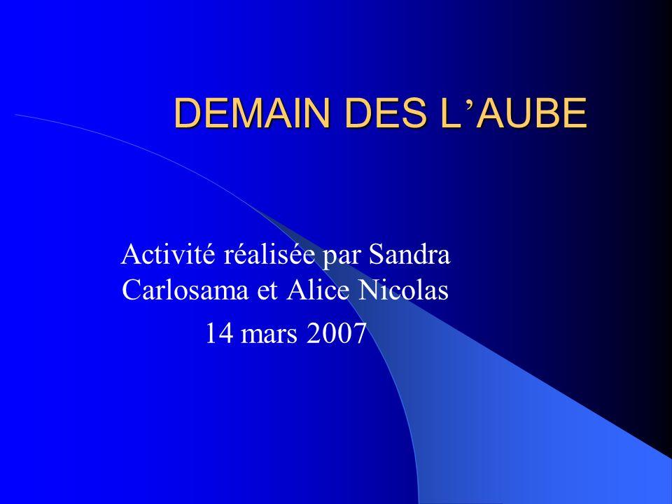 Activité réalisée par Sandra Carlosama et Alice Nicolas 14 mars 2007