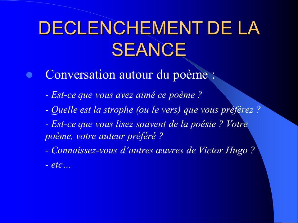 DECLENCHEMENT DE LA SEANCE