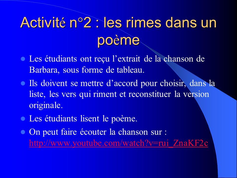 Activité n°2 : les rimes dans un poème