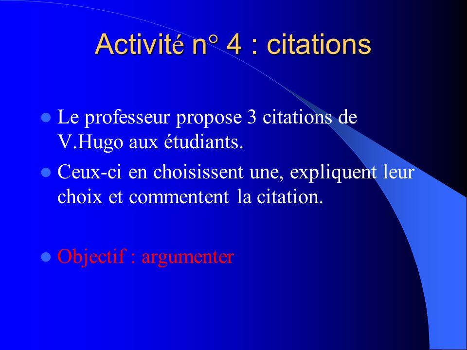 Activité n° 4 : citations