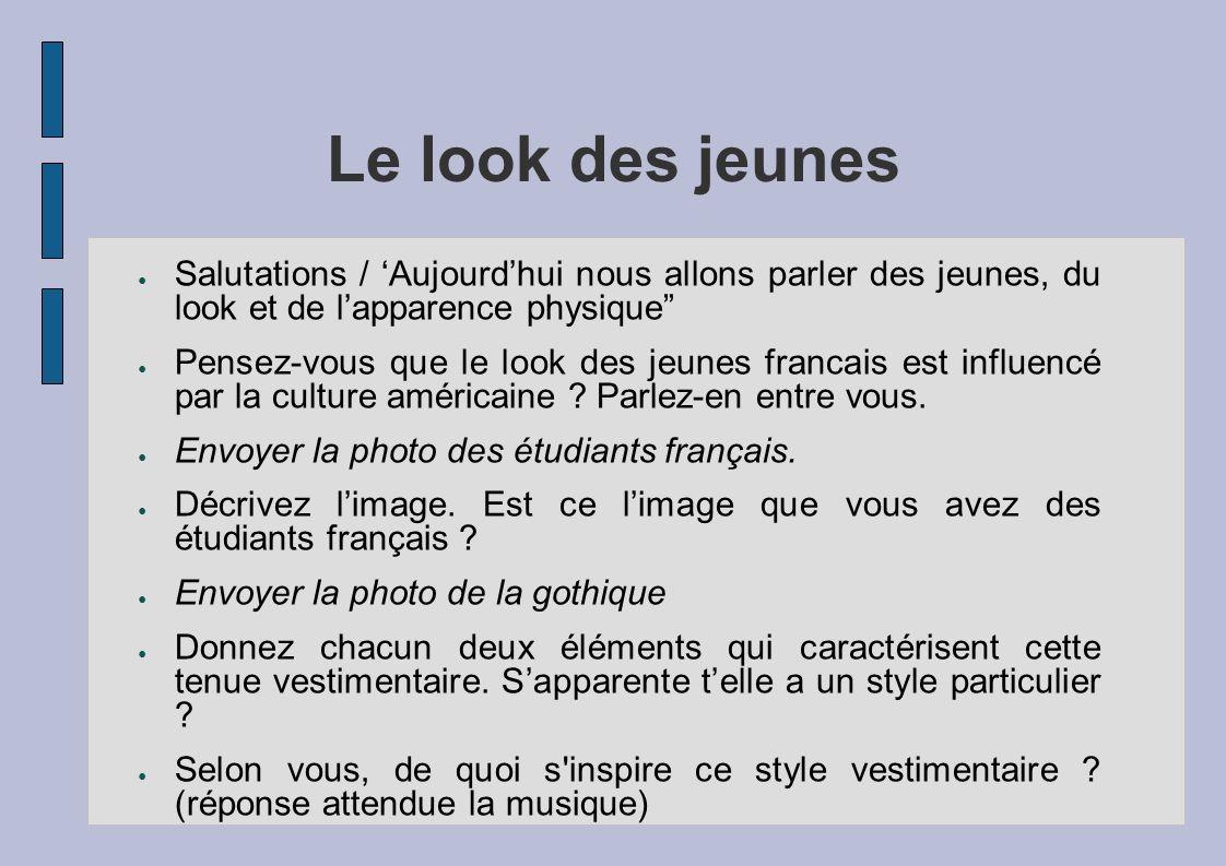Le look des jeunesSalutations / 'Aujourd'hui nous allons parler des jeunes, du look et de l'apparence physique