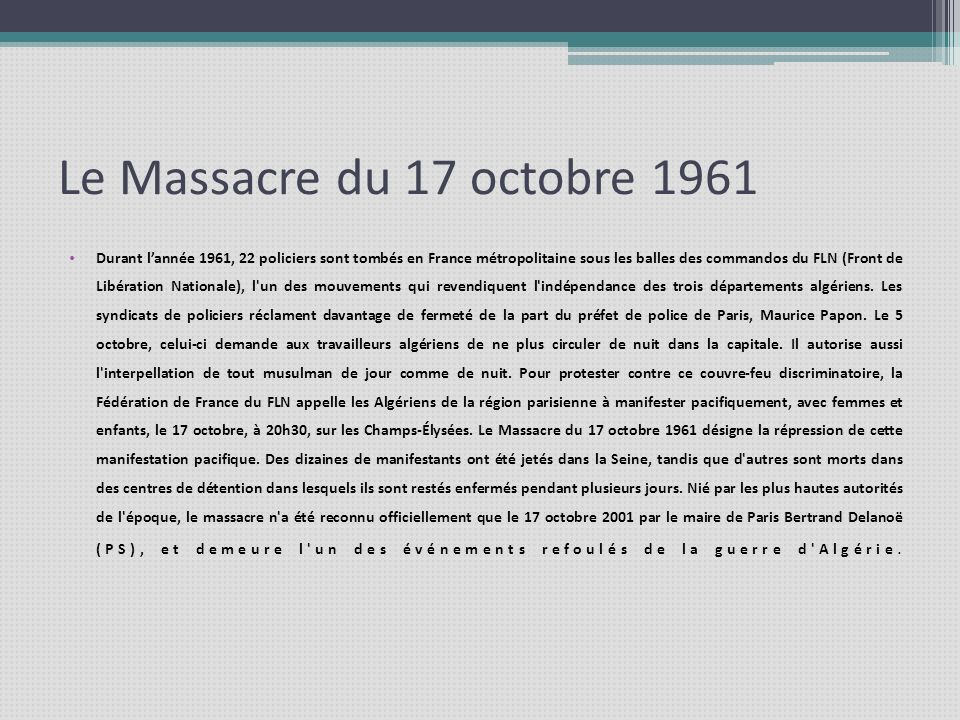Le Massacre du 17 octobre 1961
