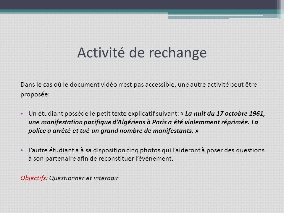 Activité de rechangeDans le cas où le document vidéo n'est pas accessible, une autre activité peut être.