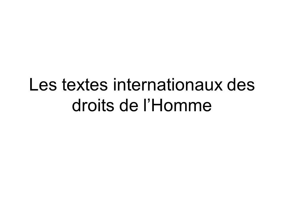 Les textes internationaux des droits de l'Homme