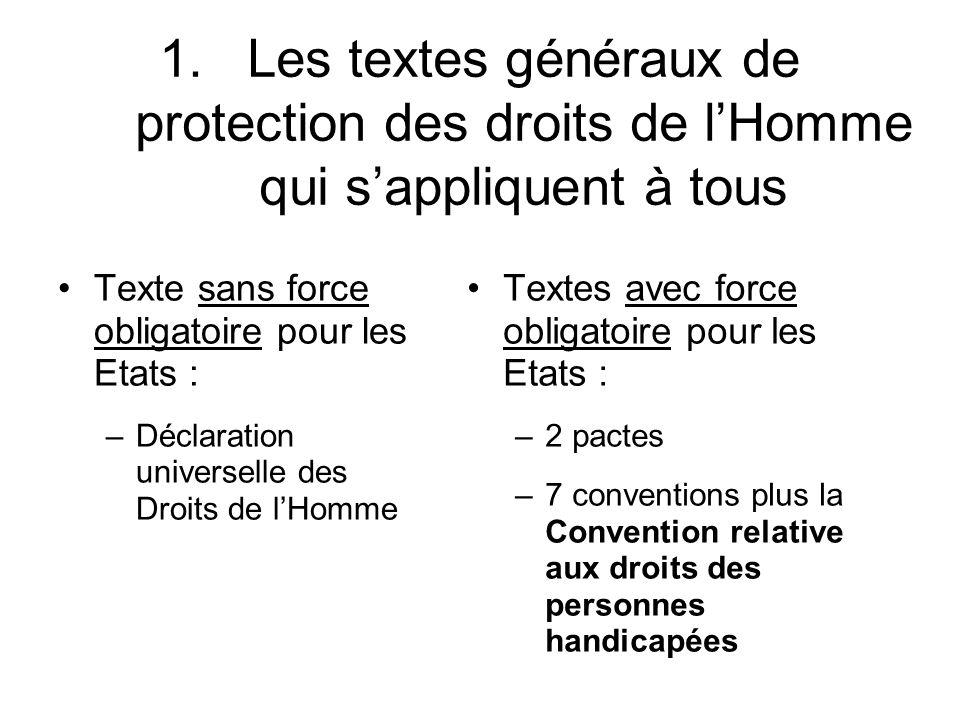 Les textes généraux de protection des droits de l'Homme qui s'appliquent à tous