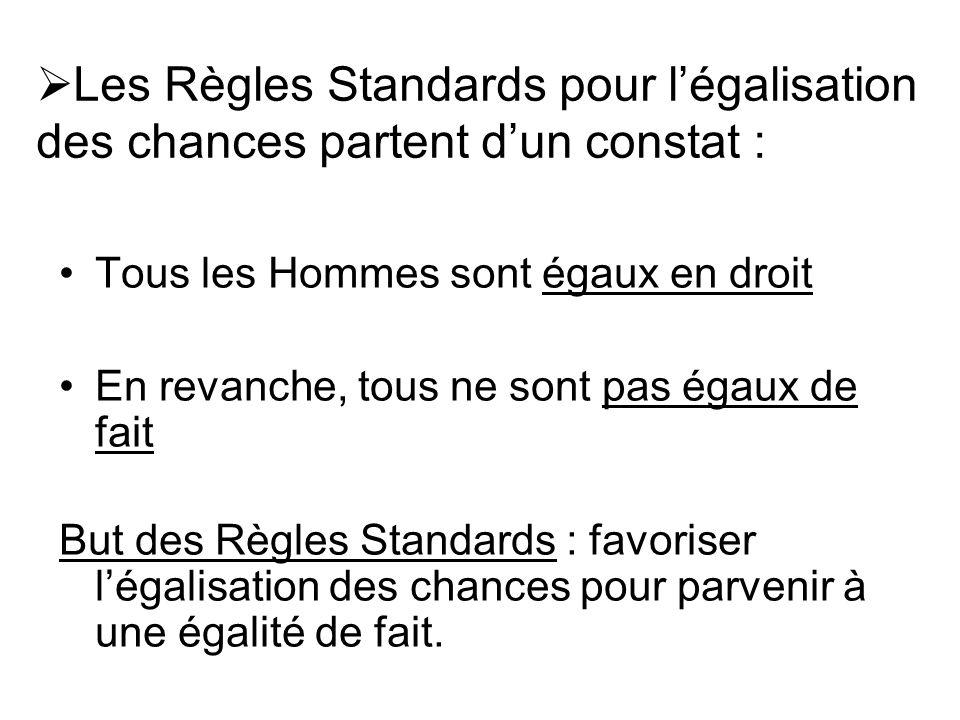 Les Règles Standards pour l'égalisation des chances partent d'un constat :