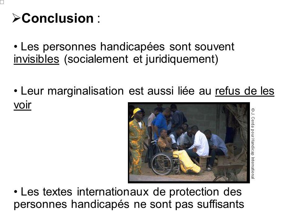 Conclusion :Les personnes handicapées sont souvent invisibles (socialement et juridiquement)