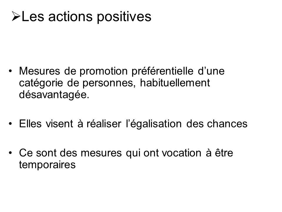 Les actions positivesMesures de promotion préférentielle d'une catégorie de personnes, habituellement désavantagée.