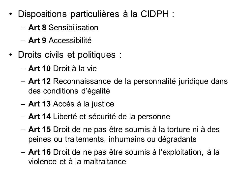 Dispositions particulières à la CIDPH :