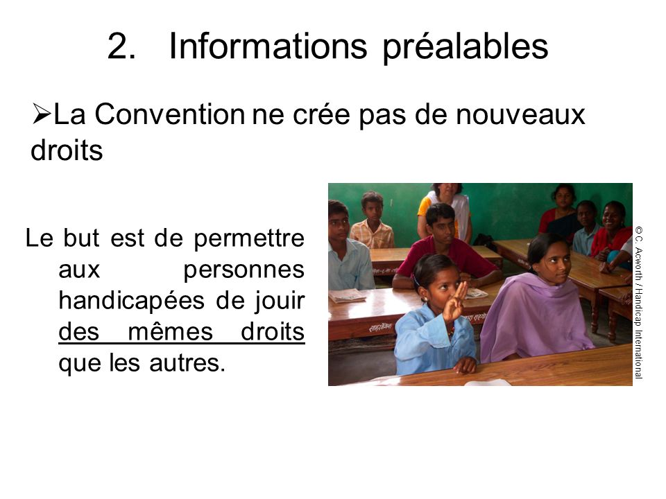 Informations préalables