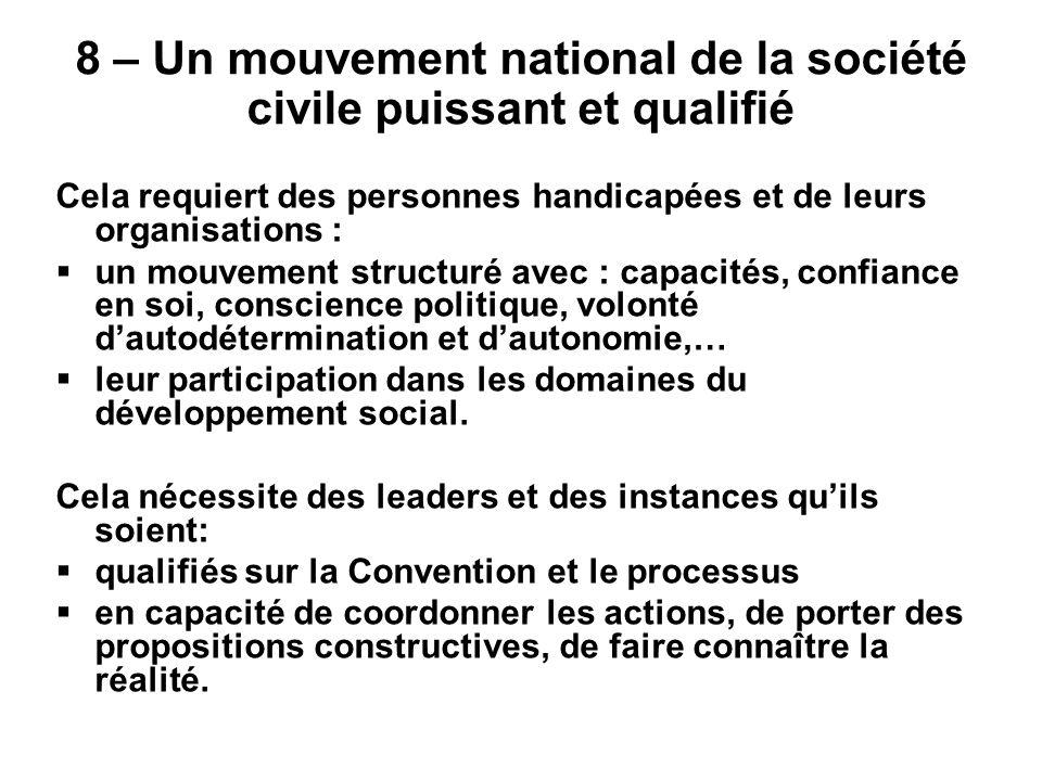 8 – Un mouvement national de la société civile puissant et qualifié