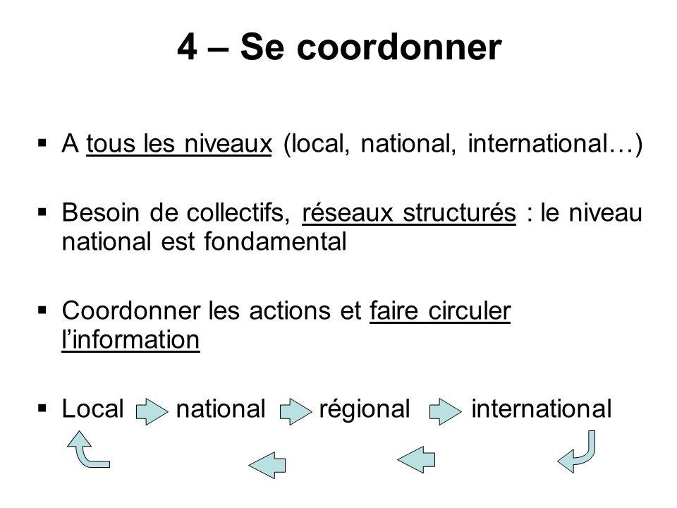 4 – Se coordonner A tous les niveaux (local, national, international…)
