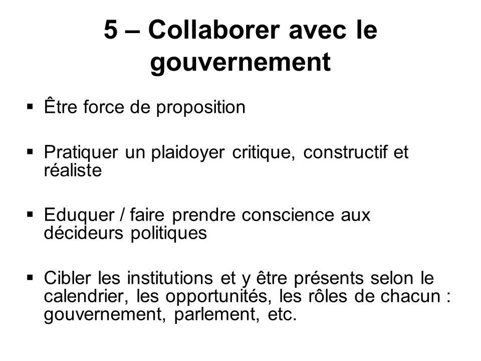 5 – Collaborer avec le gouvernement