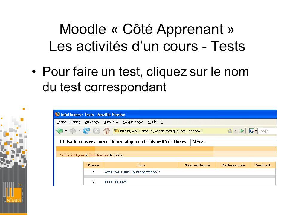 Moodle « Côté Apprenant » Les activités d'un cours - Tests