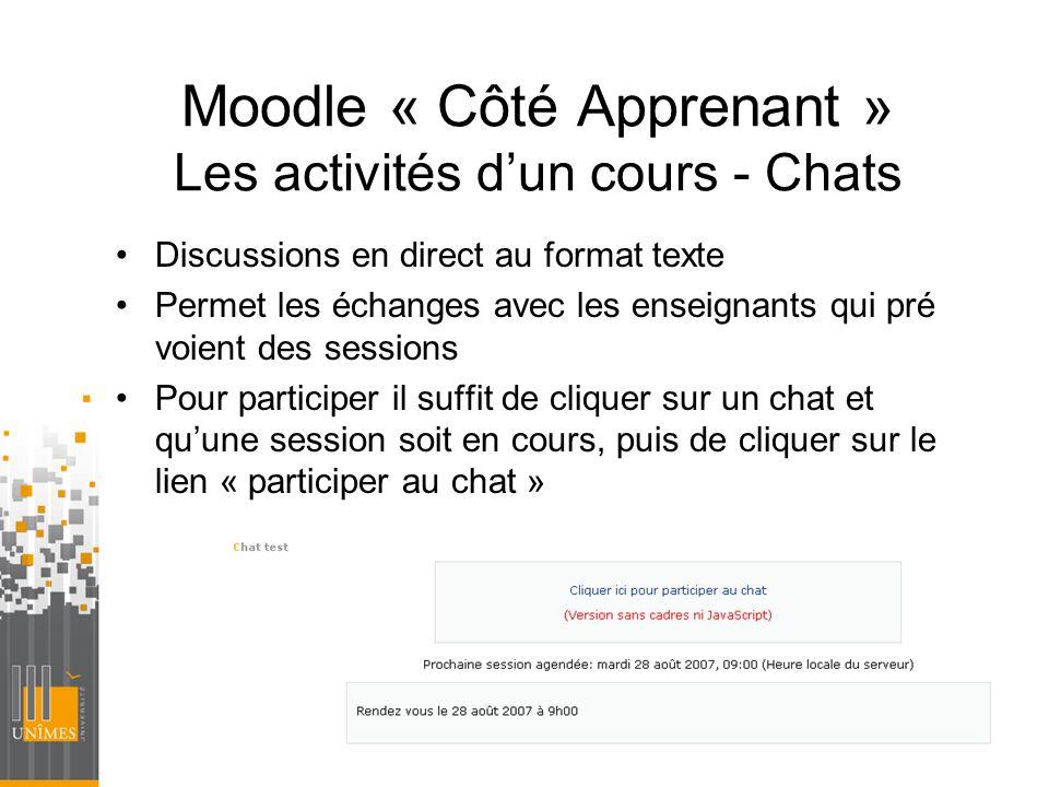 Moodle « Côté Apprenant » Les activités d'un cours - Chats