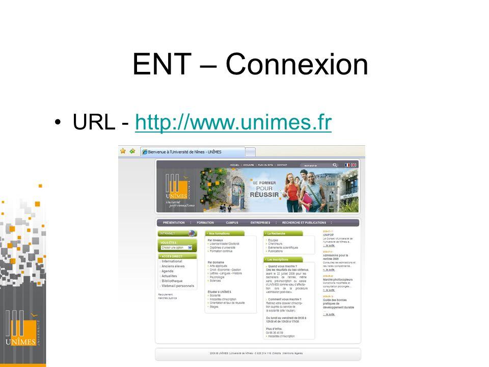 ENT – Connexion URL - http://www.unimes.fr