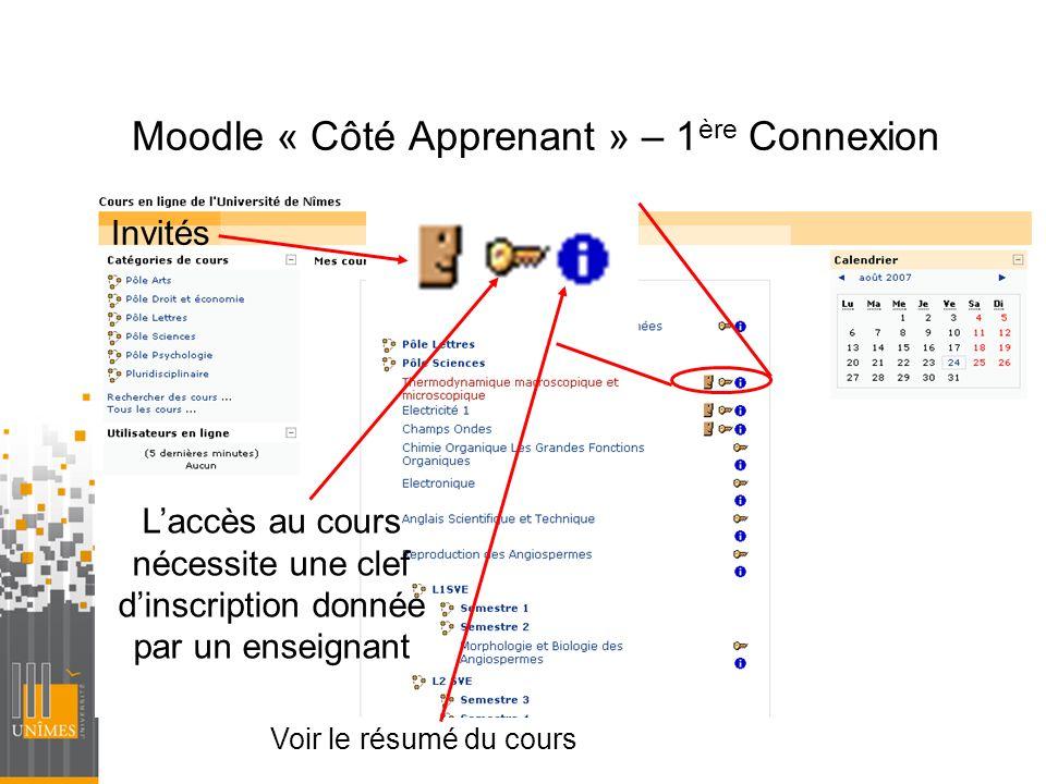 Moodle « Côté Apprenant » – 1ère Connexion