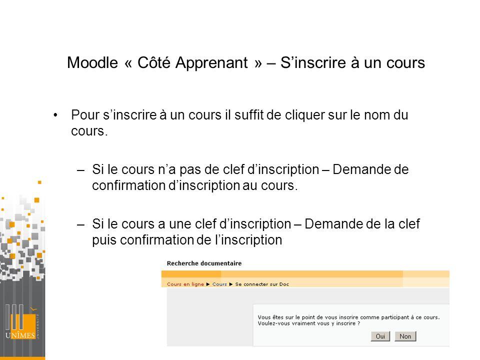 Moodle « Côté Apprenant » – S'inscrire à un cours