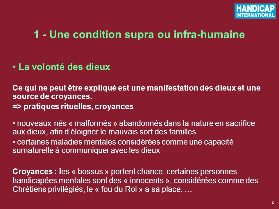 1 - Une condition supra ou infra-humaine