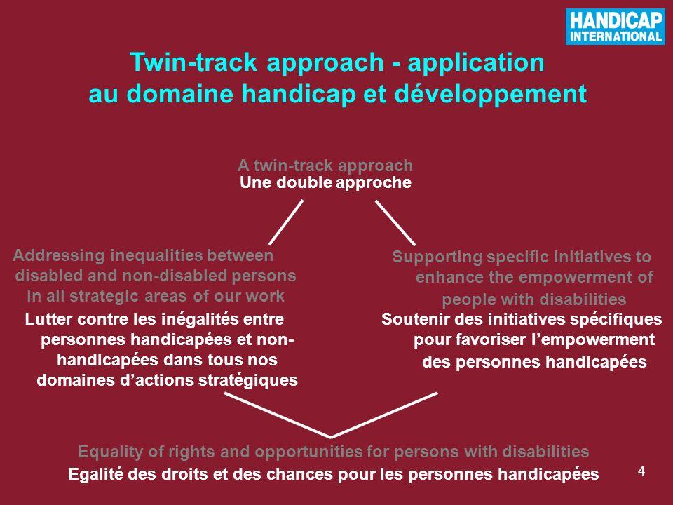 Twin-track approach - application au domaine handicap et développement