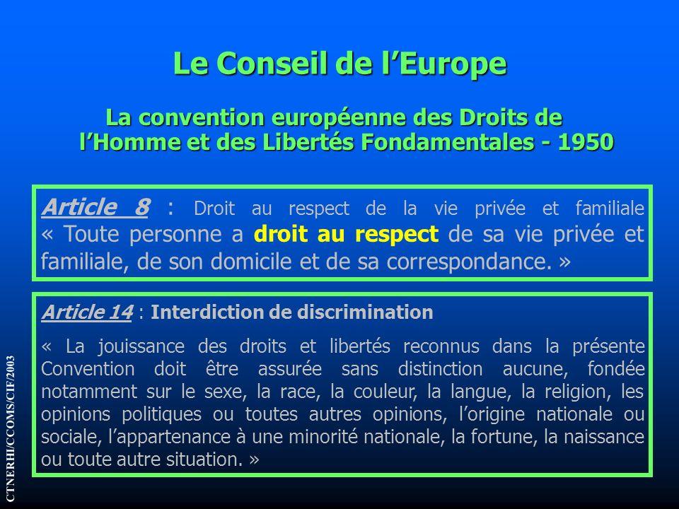 Le Conseil de l'Europe La convention européenne des Droits de l'Homme et des Libertés Fondamentales - 1950.